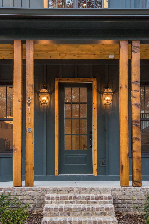 Black modern farmhouse dream house exterior garage door