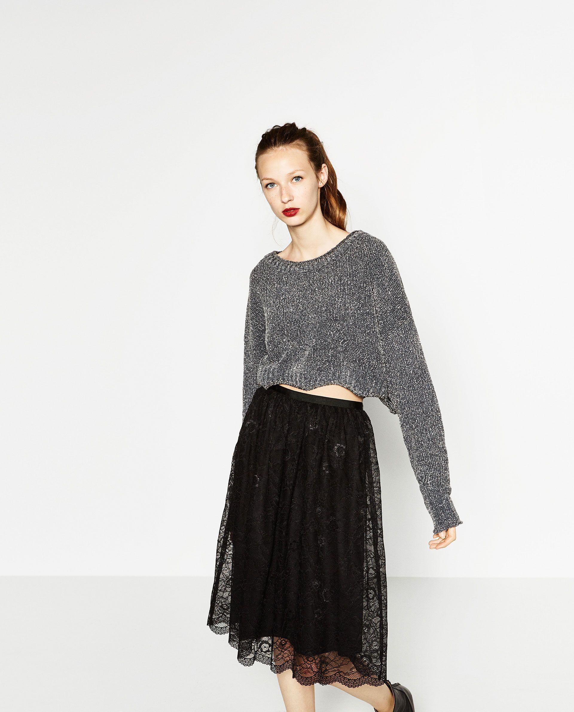 45cd0d02151 Encaje Que Adoro Pinterest Zara Midi Lo Falda Mujer De Zara wnftFU