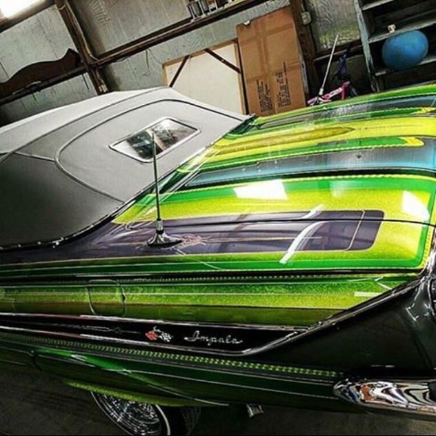 Photo of #61impala #gangsterbackwindow #lowrider #lowriders #candypaint