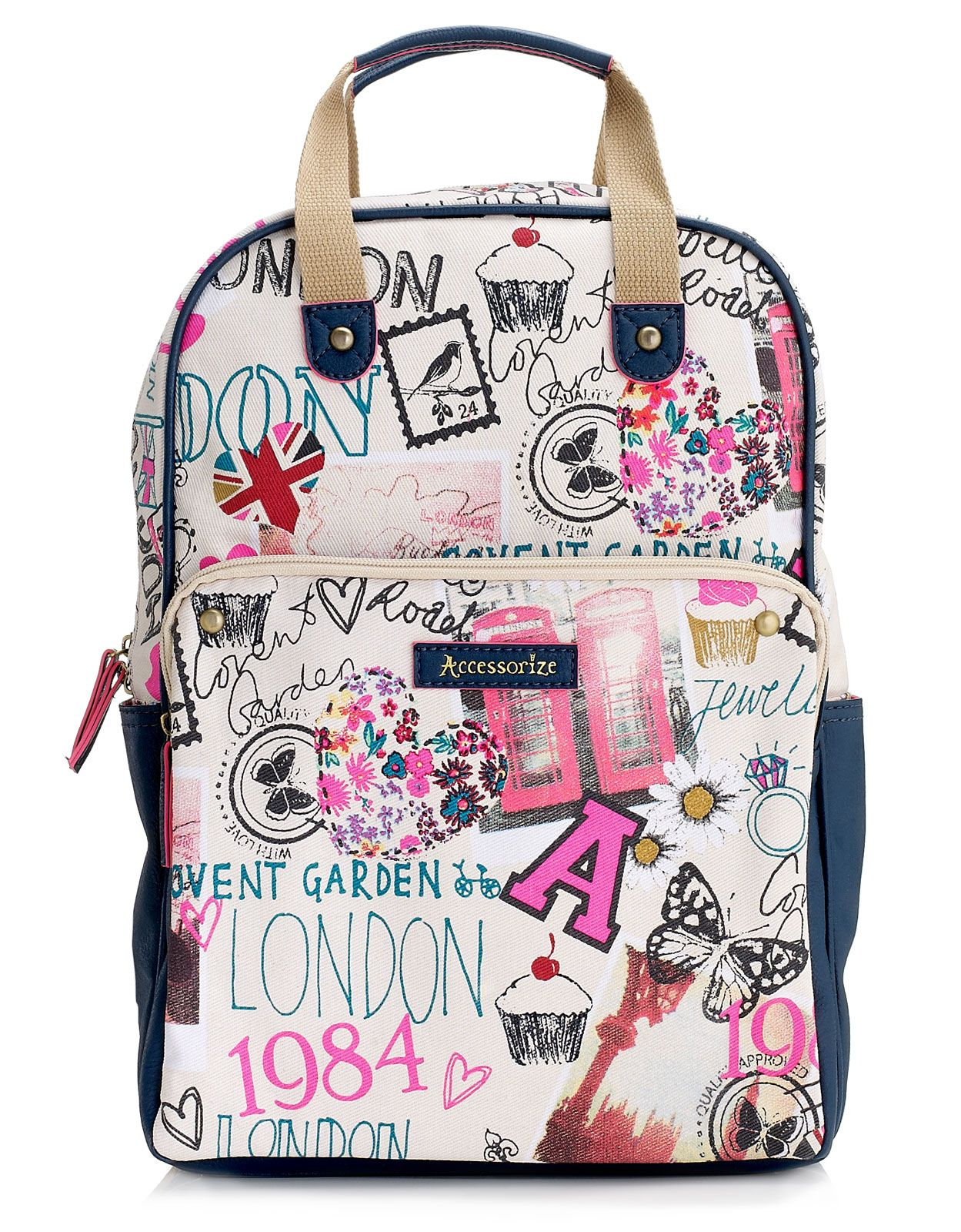 London Sights Square Rucksack | Navy | Accessorize | Top