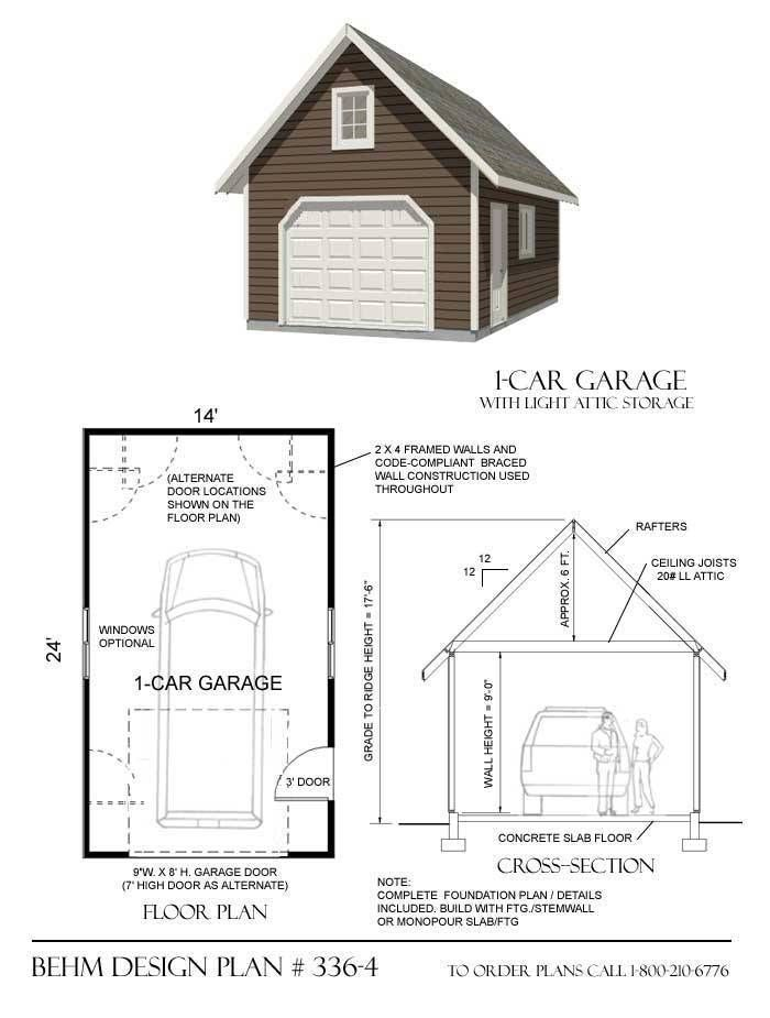 1 Car Steep Roof Pdf Garage Plans 336 4 14 X24 Garage Design Garage Plans Garage Plan