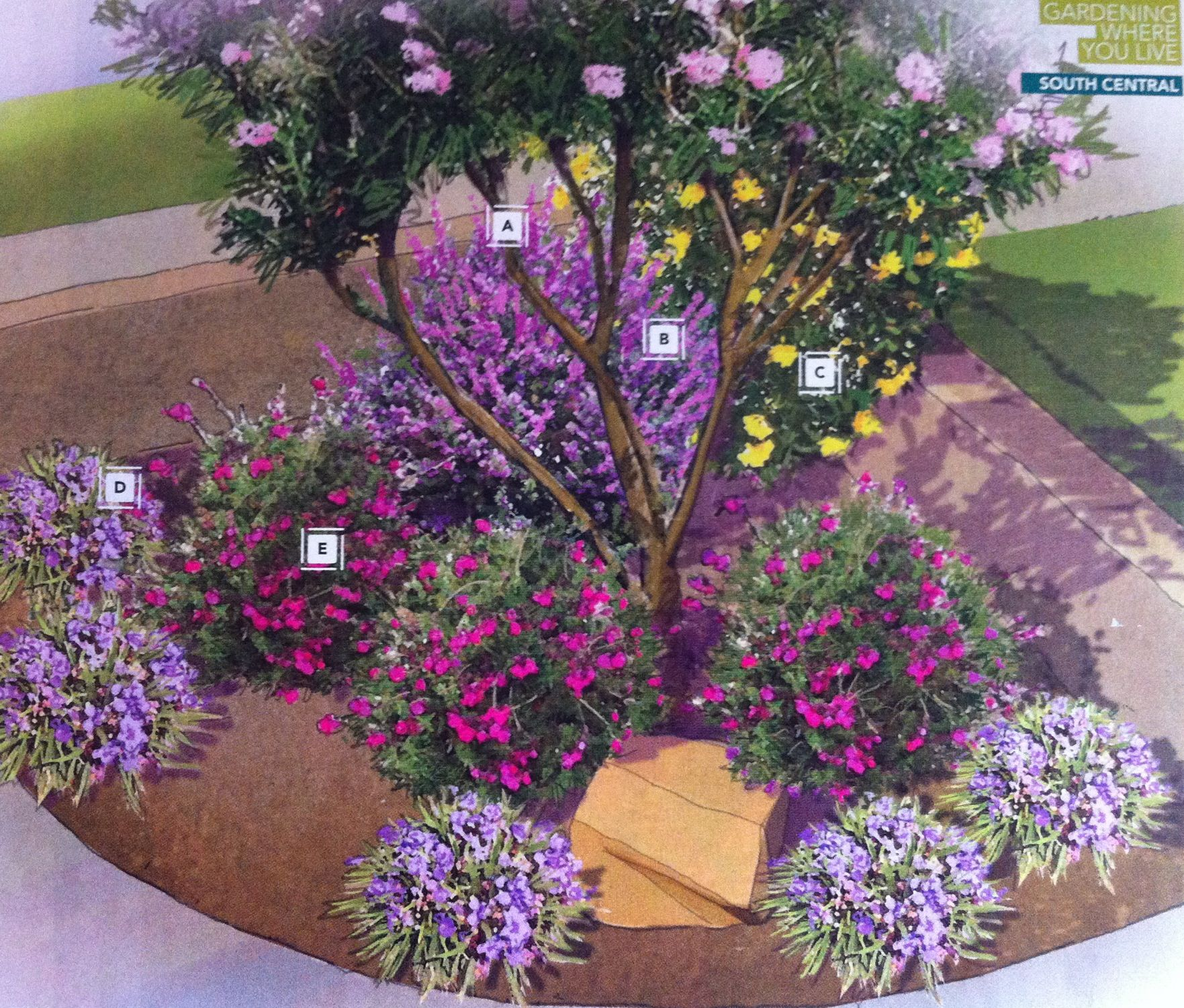 Cozy Corner Garden Plan By Lowes: (A) Desert Willow (B) Texas
