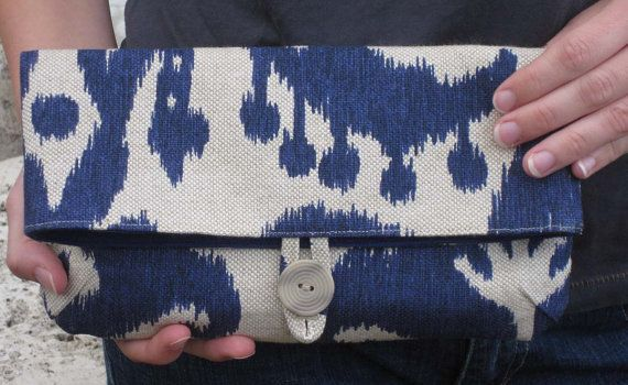 Clutch Ikat  Foldover Natural Navy Blue by MHADLEYdesign on Etsy, $28.00