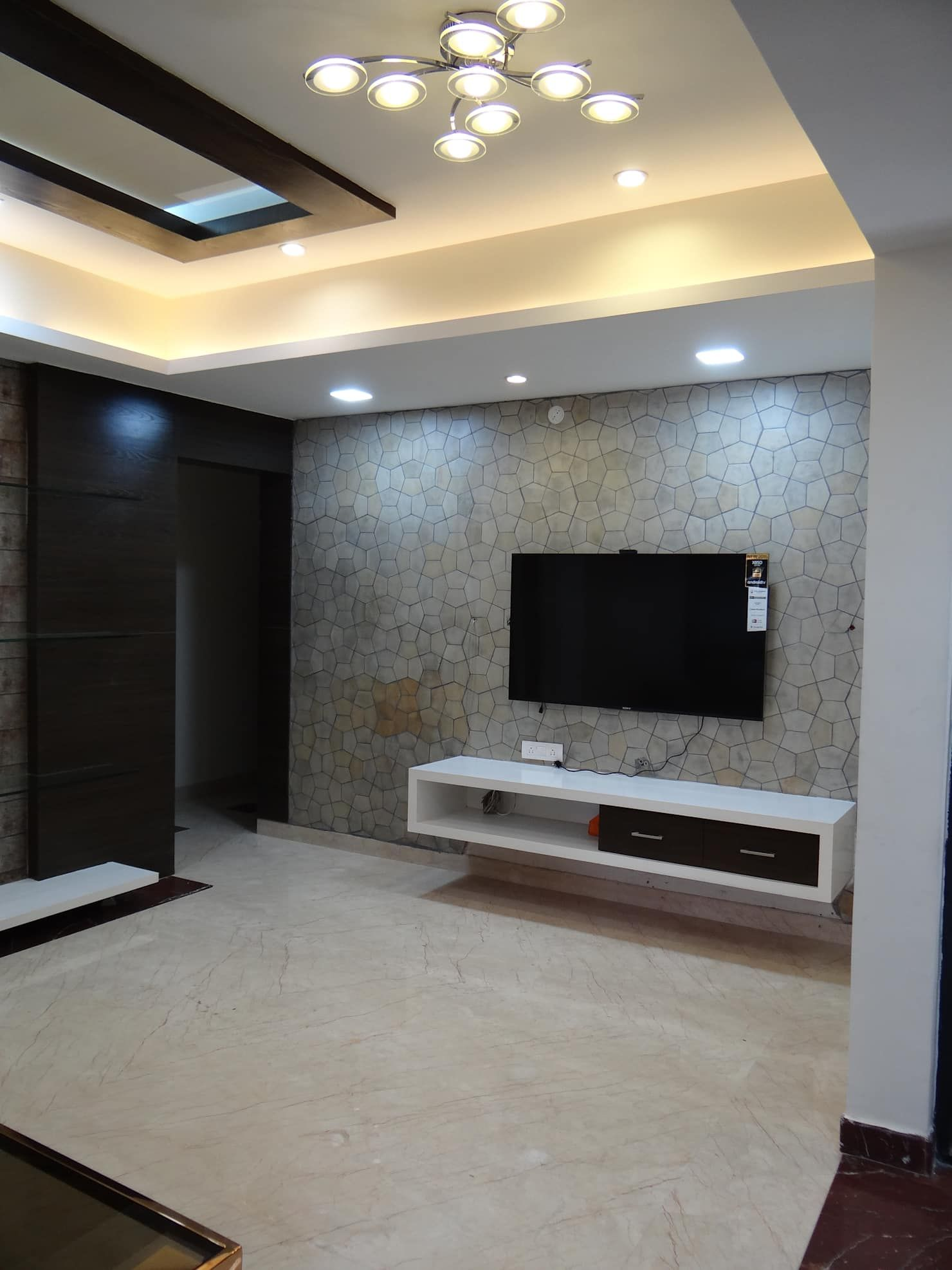 Tv Unit In Living Room: Tv Wall Cabinet With Stone Cladding Background Modern