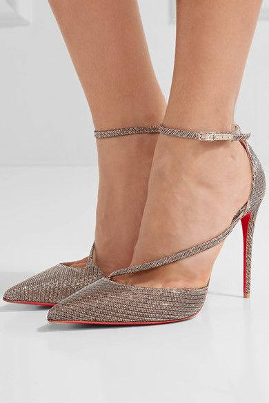 35a39d367ae3 CHRISTIAN LOUBOUTIN Sparkly Fliketta 100 glittered canvas pumps ...