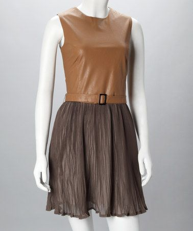 Brown Pleated Athena Dress by Fount