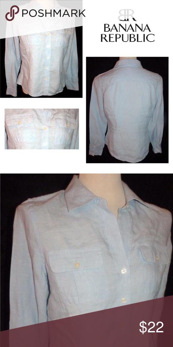 Banana Republic Blue 100 Linen Button Down Shirt Banana