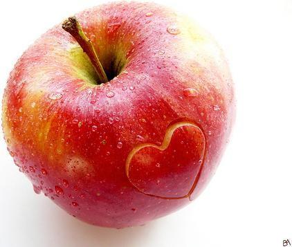Fundo Comida maçã coração