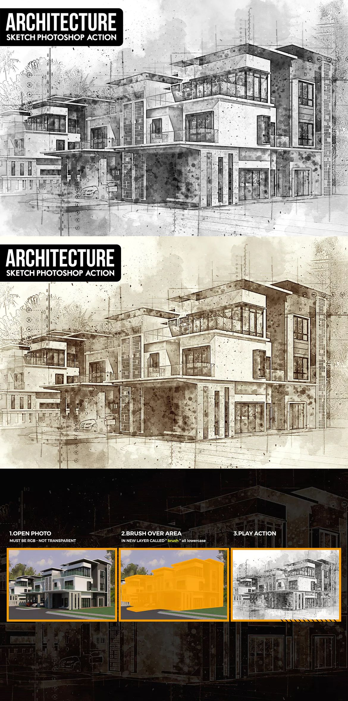 Architecture Sketch Photoshop Action By Ihemalaya On Envato Elements Sketch Photoshop Photoshop Actions Architecture Sketch