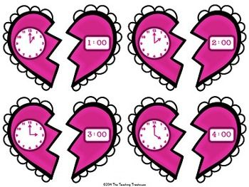 telling time valentine activity valentines activities and clock. Black Bedroom Furniture Sets. Home Design Ideas