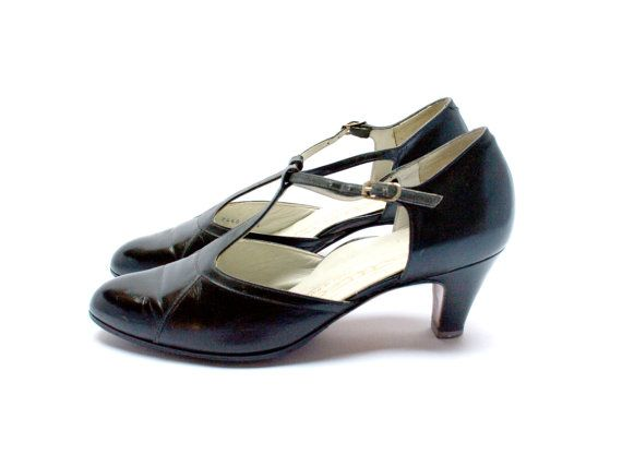 T Bar Leather Pumps Retro Women Black Heel Shoes Size Fr 35 5