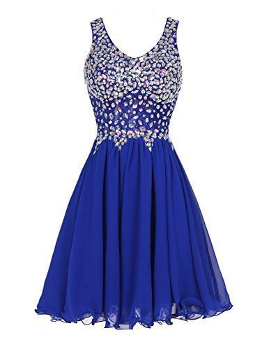 nice Tideclothes Chiffon Straps Prom Dress Short Beading Homecoming Party Dress RoyalBlue12