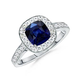 Angara Ruby Antique Pendant in Platinum with Diamond Border oHocyGX