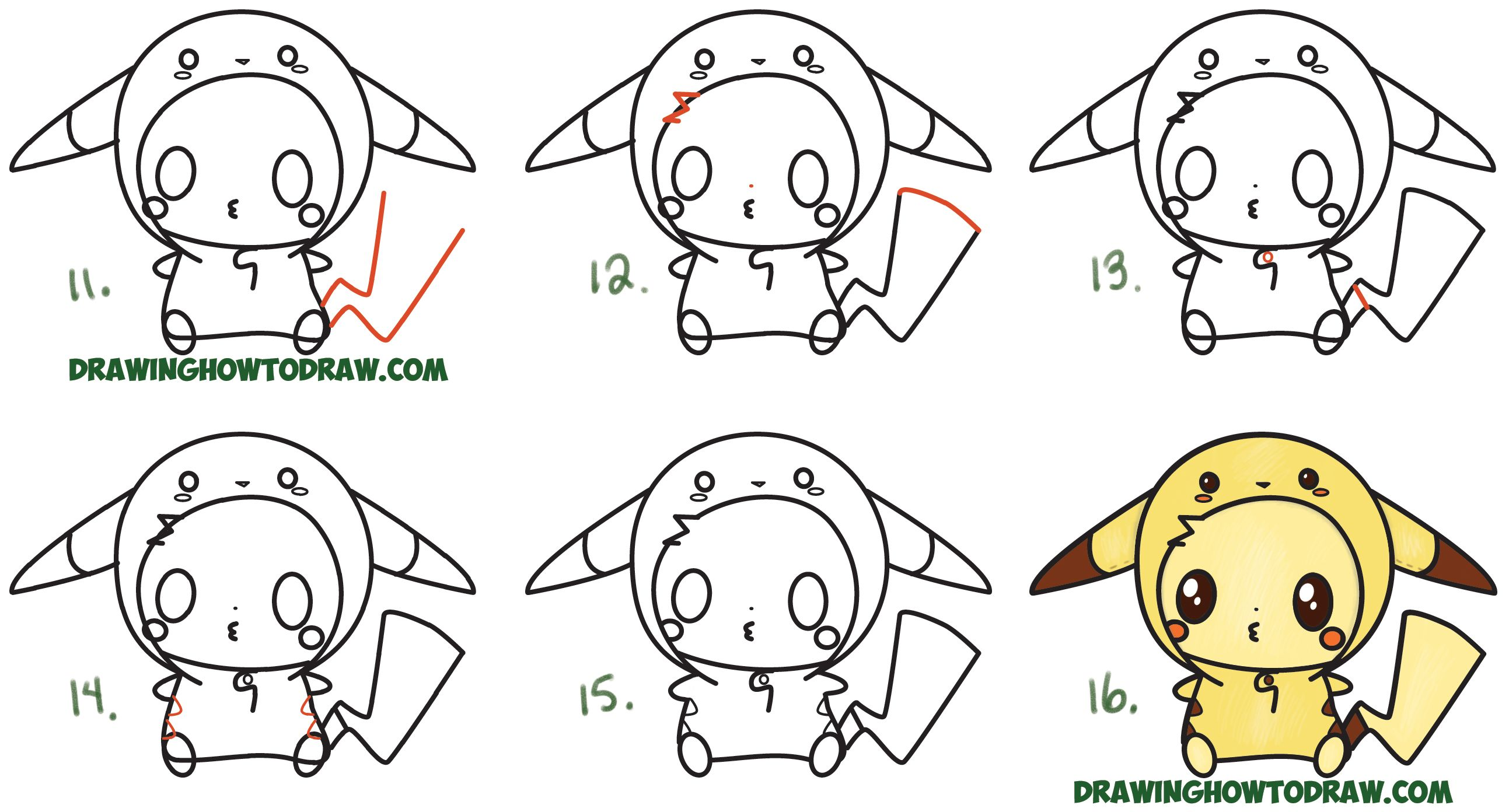 How to draw cute pikachu with costume hood from pokemon