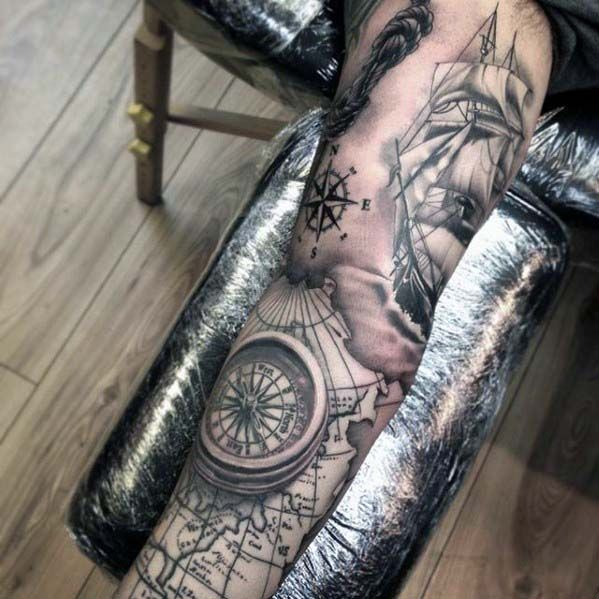 Compass With Map And Ship Nautical Mens Sleeve Tattoo Tats - Us map with white burd tattoo