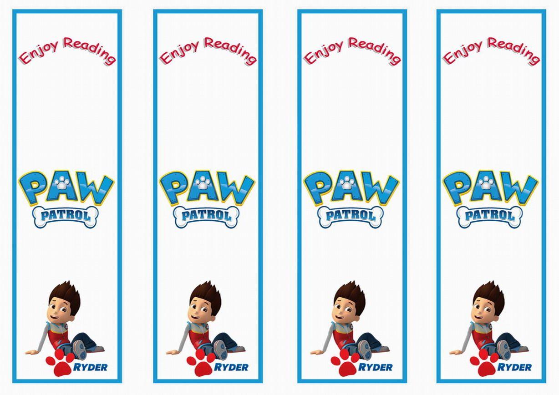 Paw Patrol Name Bookmarks In