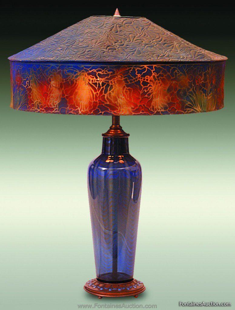 Tiffany Furnace Table Lamp. 16.5'' diameter Tiffany ...