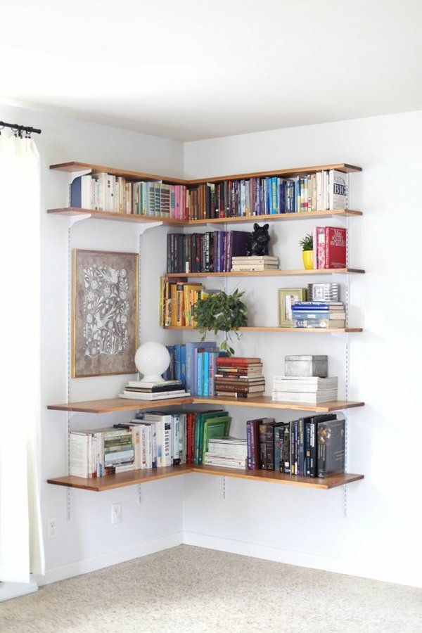 Praktische Design Ideen Eckiges Wandregal Bücher