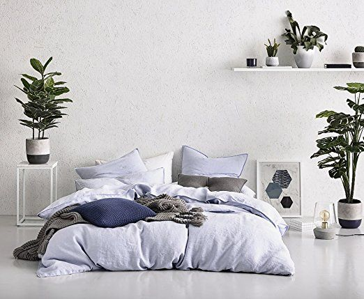 Washed Cotton Chambray Duvet Cover Solid Color Casual Modern Style Bedding  Set Relaxed Soft Feel Natural