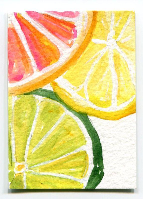 Orange Lemon Lime Slices Watercolors Paintings Original Fruit