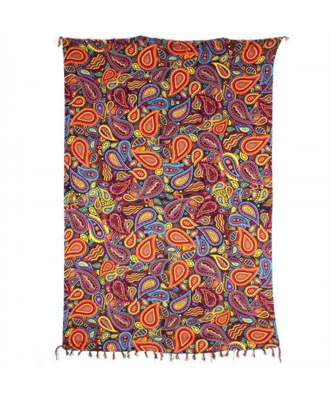 LOUDelephant Paisley Print Viscose Rayon Sarong - Orange & Black