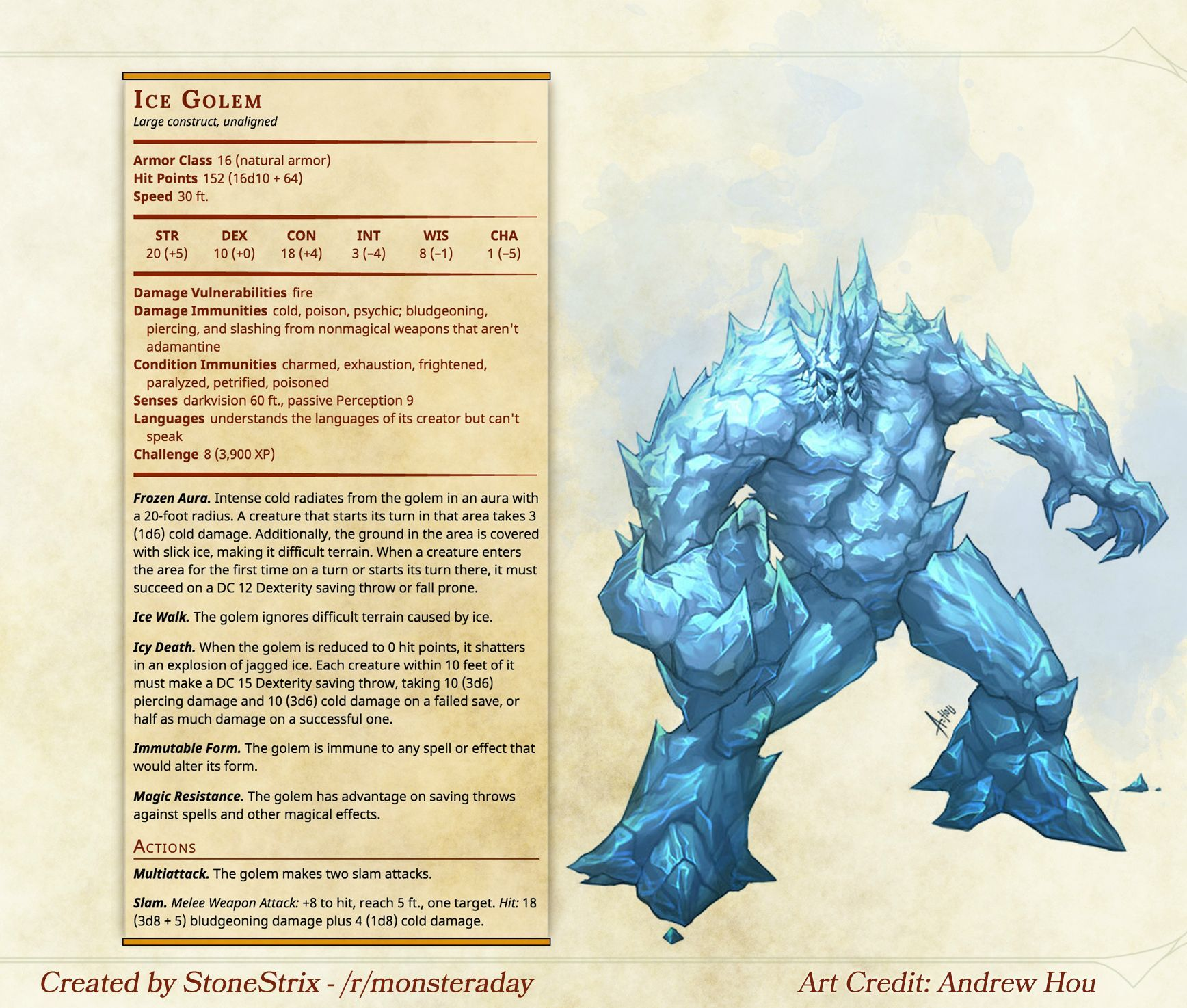 Homebrew Monster A Day Ice Golem With Images Dnd 5e Homebrew