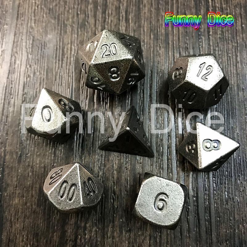 Owlhouse 7PCS DND Dice Set Metal Dice Board Game MTG RPG DND D4 D6 D8 D10 D10 D12 D20
