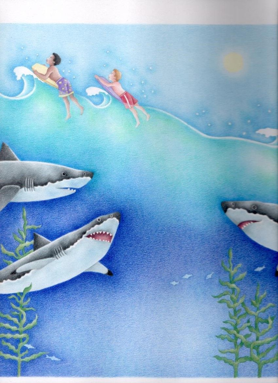 I Want to be a Great White Shark - Stephanie Boey  #shark #greatwhiteshark #childrensbook #illustration #kidlitart #stephanieboey