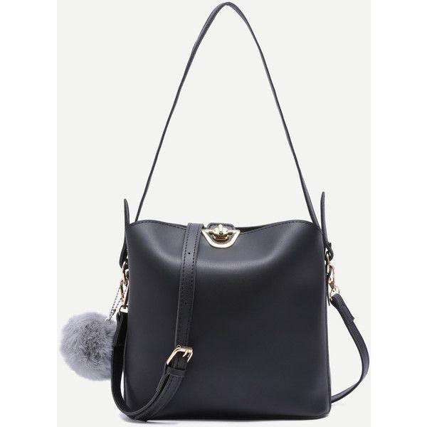SheIn(sheinside) Faux Fur Pom Pom Shoulder Bag With Convertible ... 8886d5b51c