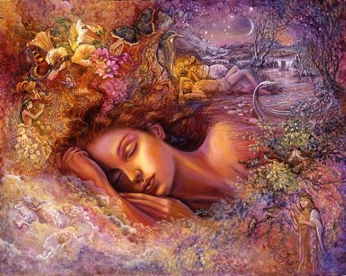 As Psyche, the most beautiful of mortals, sleeps among the flowers, she dreams of beholding the perfect face of Eros, her lover. Having found true love in each other, they float down the river of life forever.  By Josephine Wall.