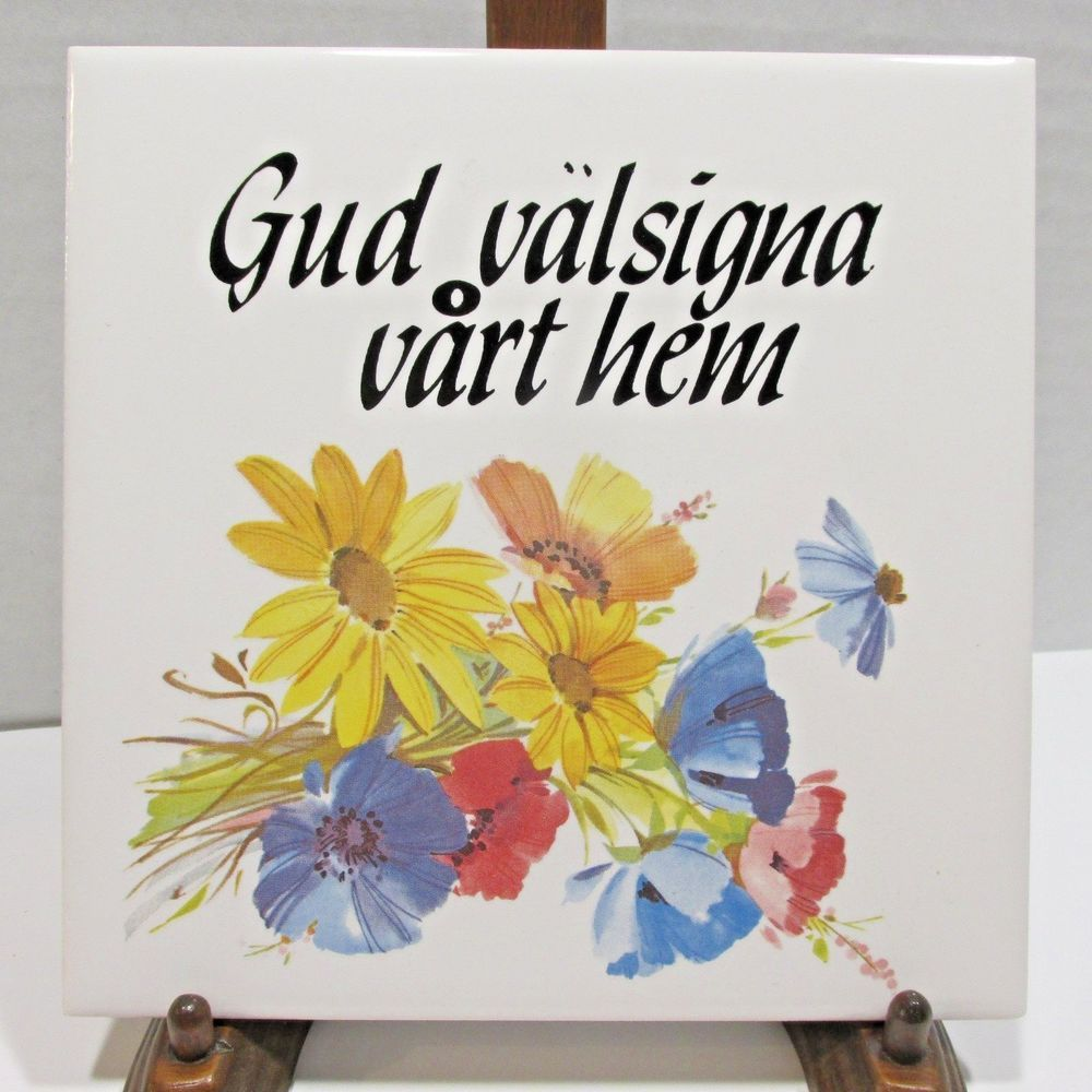 GOD BLESS OUR HOME Swedish Trivet Tile Hand Painted Folk Art Flowers ...