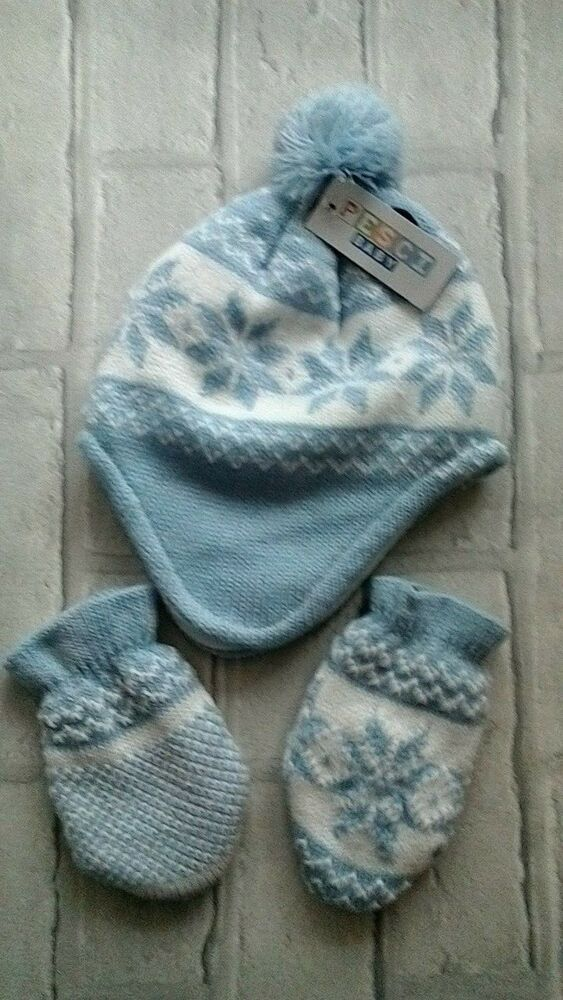 Baby Boys Hat and Mitt set 0-3 months Pesci baby Blue White BNWT  pescibaby 6be52c07866