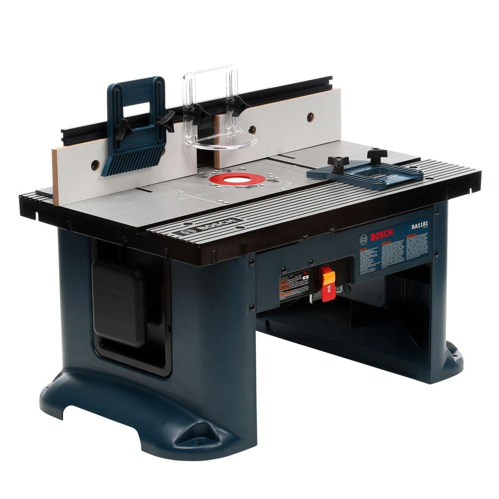 Bosch 27 In X 18 In Aluminum Top Benchtop Router Table With 2 1 2 In Vacuum Hose Port Ra1181 The Hom In 2020 Benchtop Router Table Router Table Router Table Plans