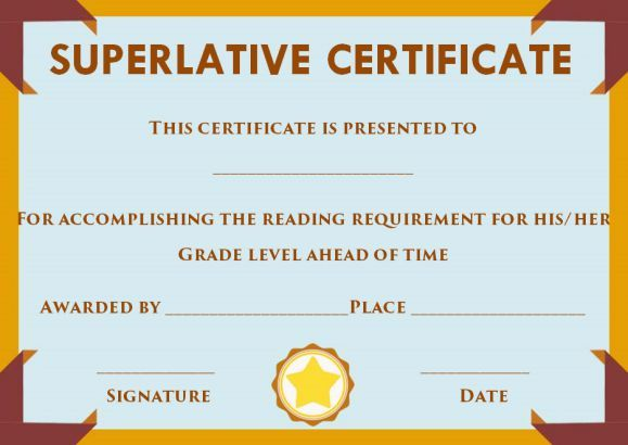 Superlative Certificate Template Word Superlative Certificate
