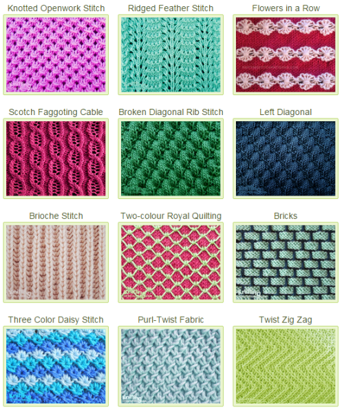 Basic Knitting Stitches Patterns : List of beautiful stitch patterns to use in everyday projects Knitting Stit...