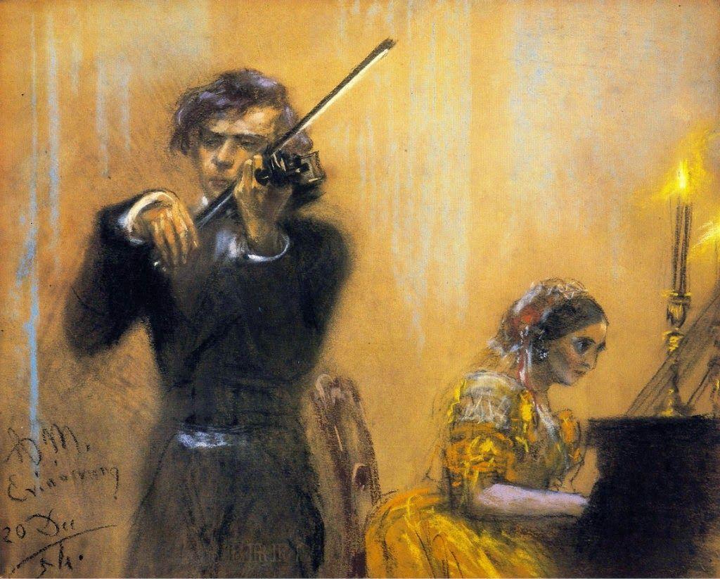 (left) Joseph Joachim (1831-1907) and (right) Clara Wieck, Frau Schumann (1819-1896), pastel (1854), by Adolph von Menzel (1815-1905).