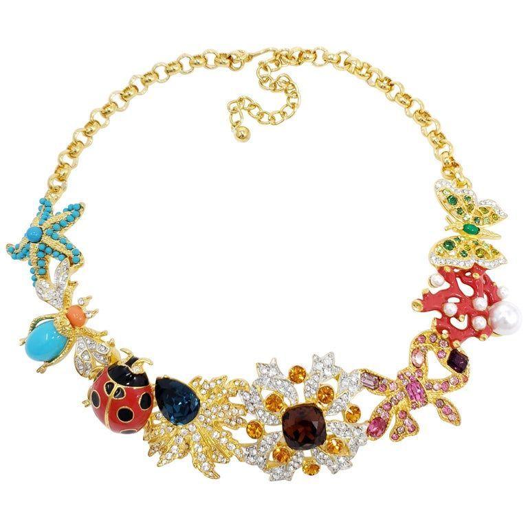 Photo of Kenneth Jay Lane Gold-Kaleidoskop-Halskette mit Emaille- und Kristallmotiven …