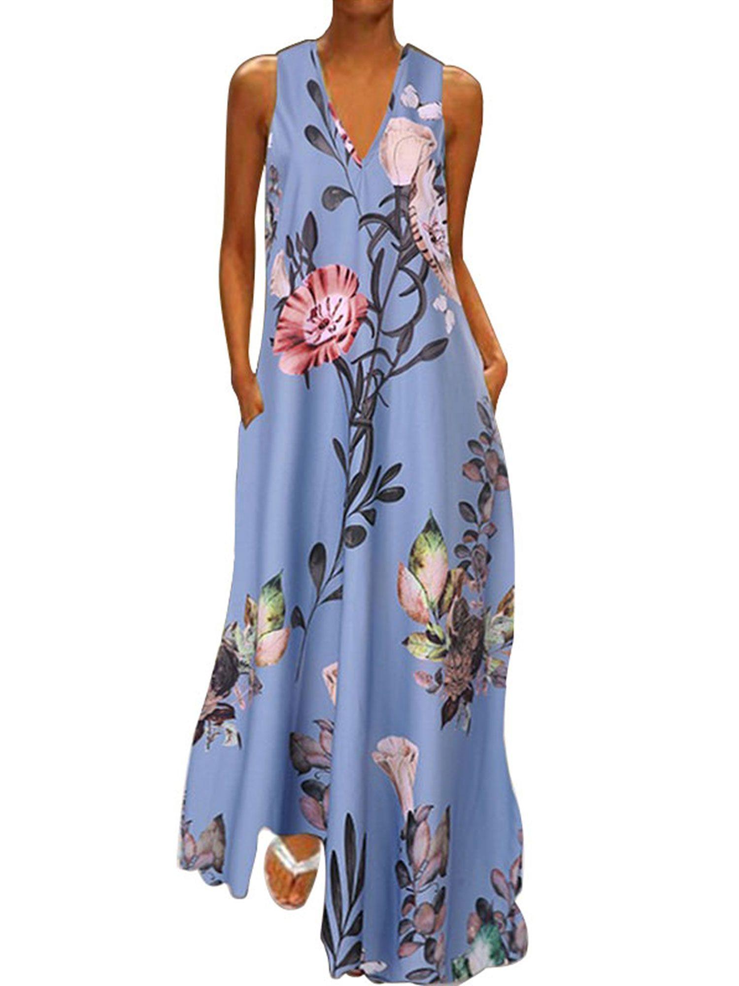 Ukap Plus Size Bohemia Dress Women Sleeveless Floral Print Summer Beach Holiday Sundress Long Maxi Dress Evening Party Cocktail Walmart Com Maxi Dress Evening Long Sundress Maxi Dress Summer Beach [ 2000 x 1500 Pixel ]