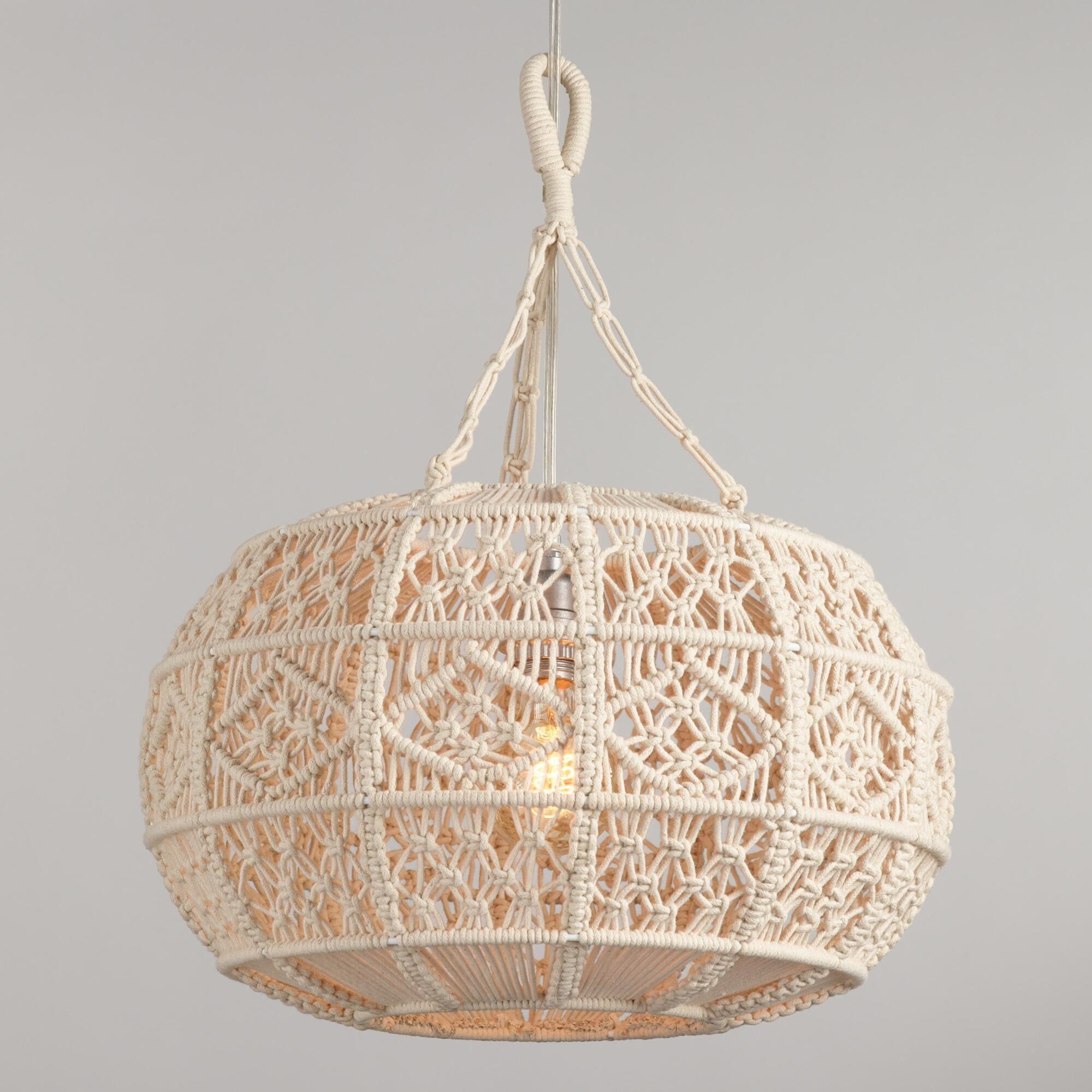 Ivory Macrame Sphere Pendant Lamp By World Market Tapices De