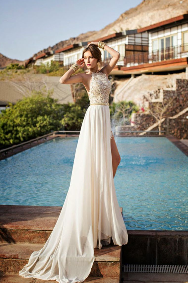 2015 Halter A-line Applique Wedding Dress | My wedding ideas | Pinterest