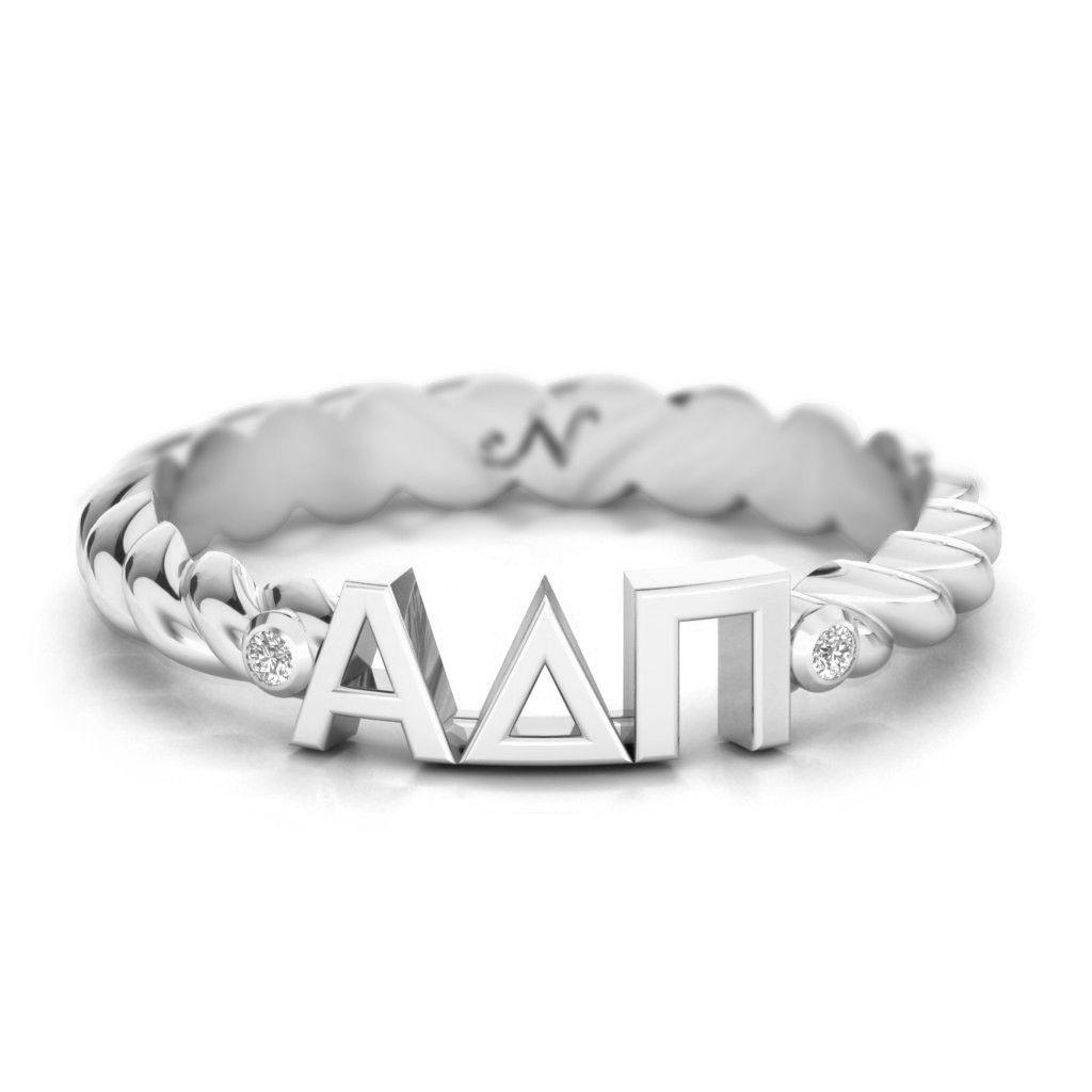 Alpha Delta Pi Silver Pavé Twist Letter Ring #alpha-delta