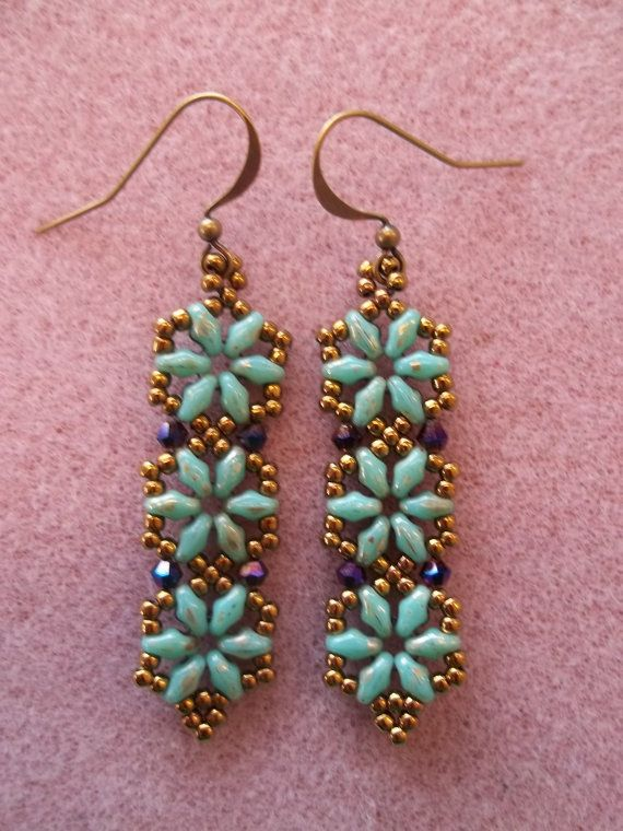 Hexagon Duo Earrings Pdf Bead Weaving Tutorial Instant Download