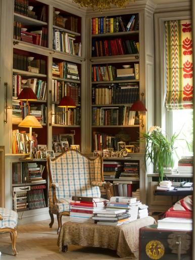 pretty reading space gezellige bibliotheek droombibliotheek bibliotheekontwerp boekenkasten hoek boekenkast boekenplank