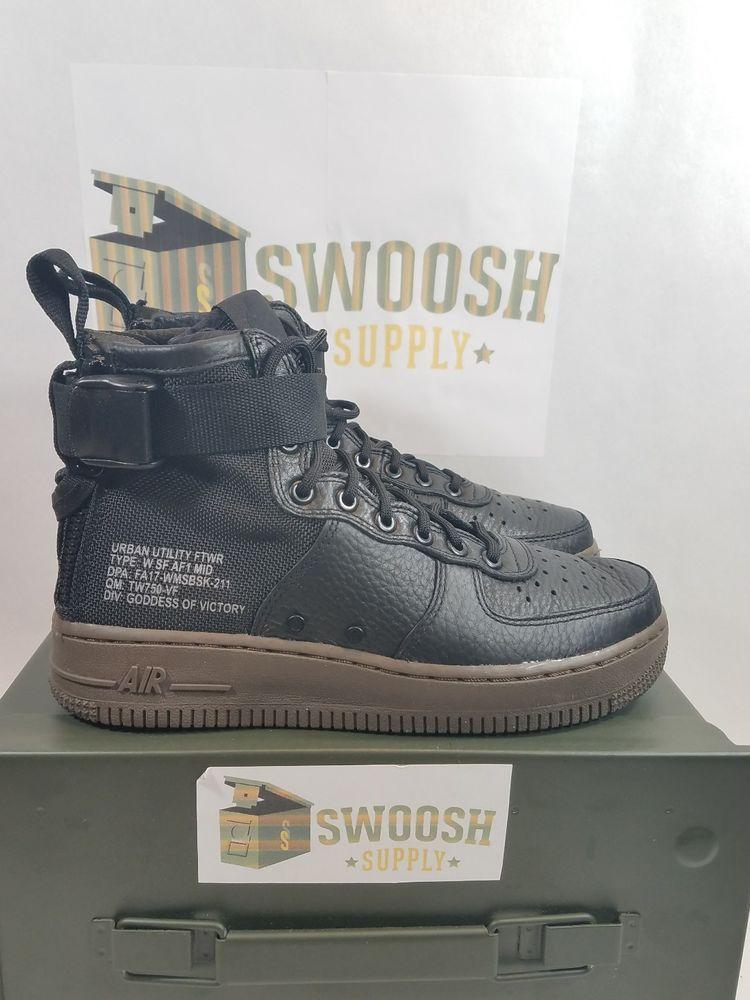 Nike Womens SF AF1 Mid Air Force 1 Black Dark Hazel AA3966 003 Size