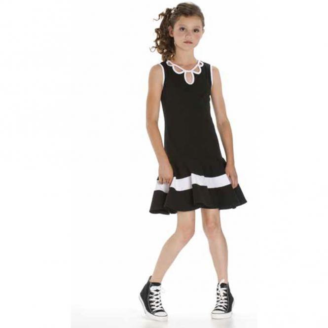 Kleid Mädchen zweifarbig, schwarz