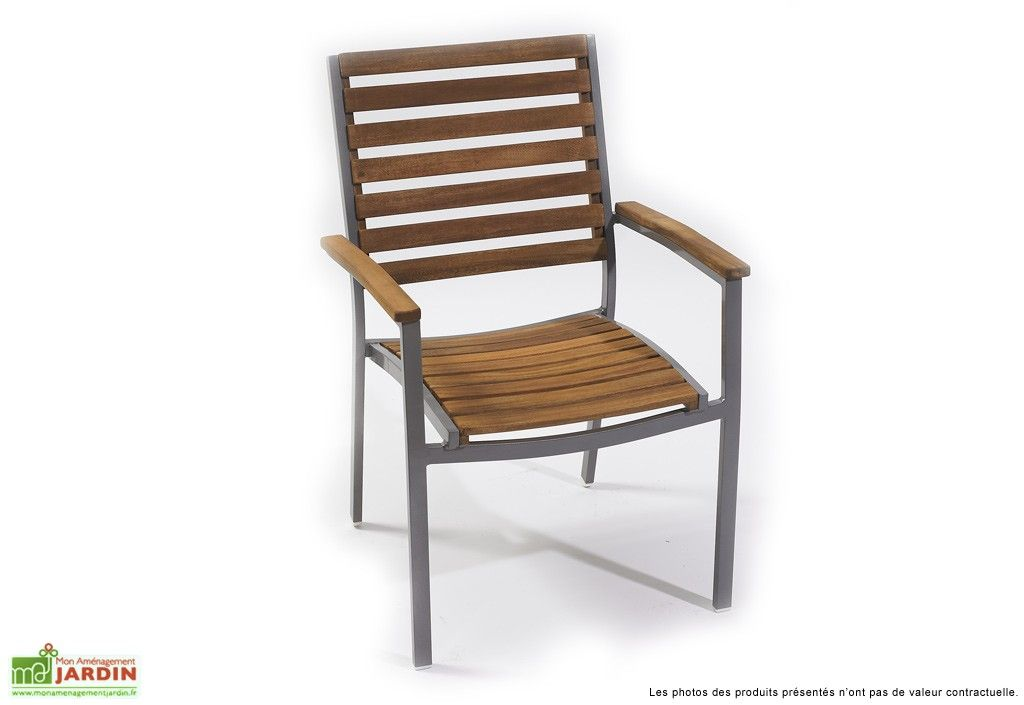 fauteuil jardin aluminium bois acacia