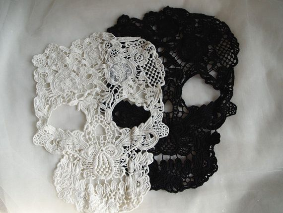 retro Cotton Lace applique, skull design lace applique, lace skull