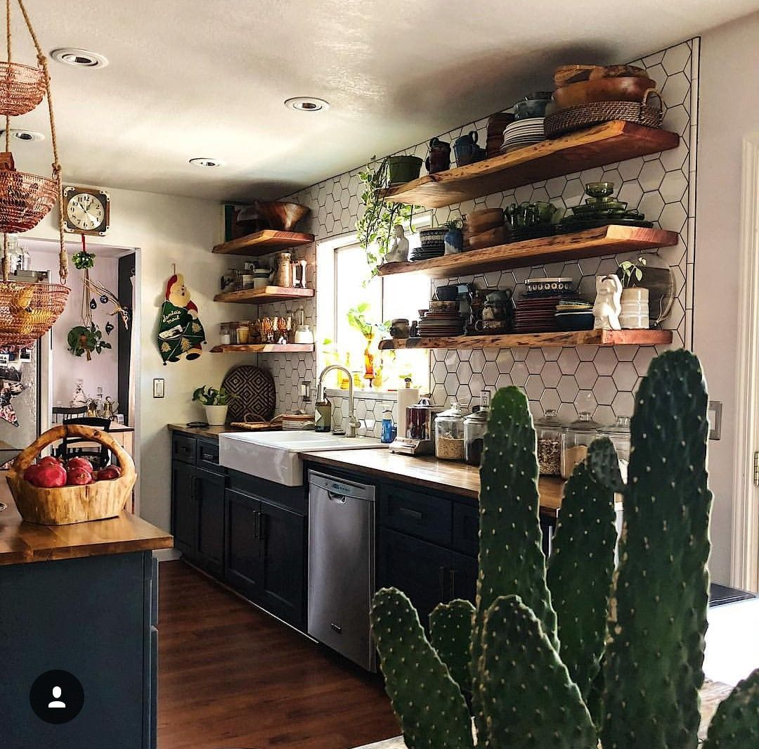 Dream Kitchen White Window Open Shelf Shelving Subway Tile Black Dark Navy Blue Counter Top Center I Bohemian Kitchen Boho Style Kitchen Bohemian Style Kitchen