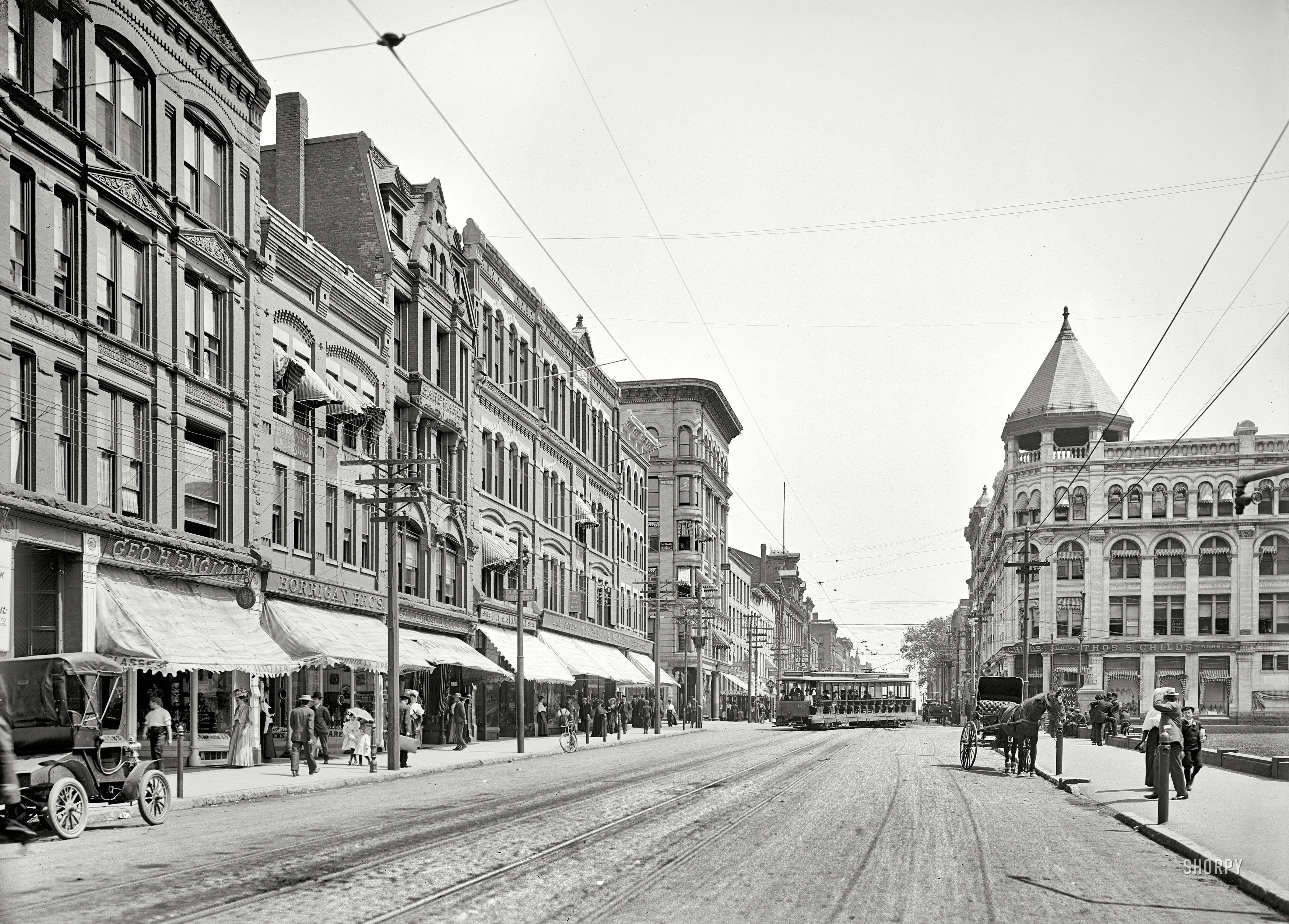 STREET SCENE: Circa 1908 - High Street Holyoke Massachusetts ...