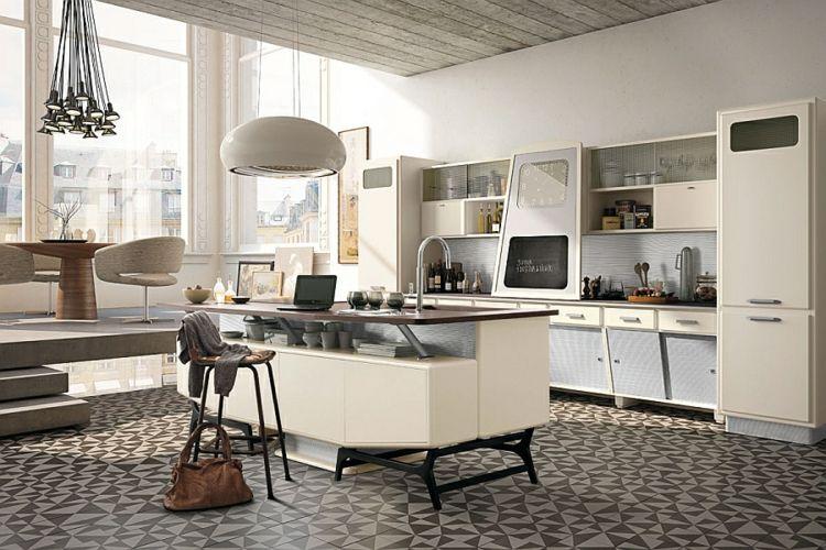 küchenideen kücheninsel retro 50er jahre stil linoliumboden designer ...